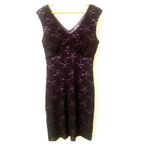 Fashion Bug black lace & lavender dress - Large